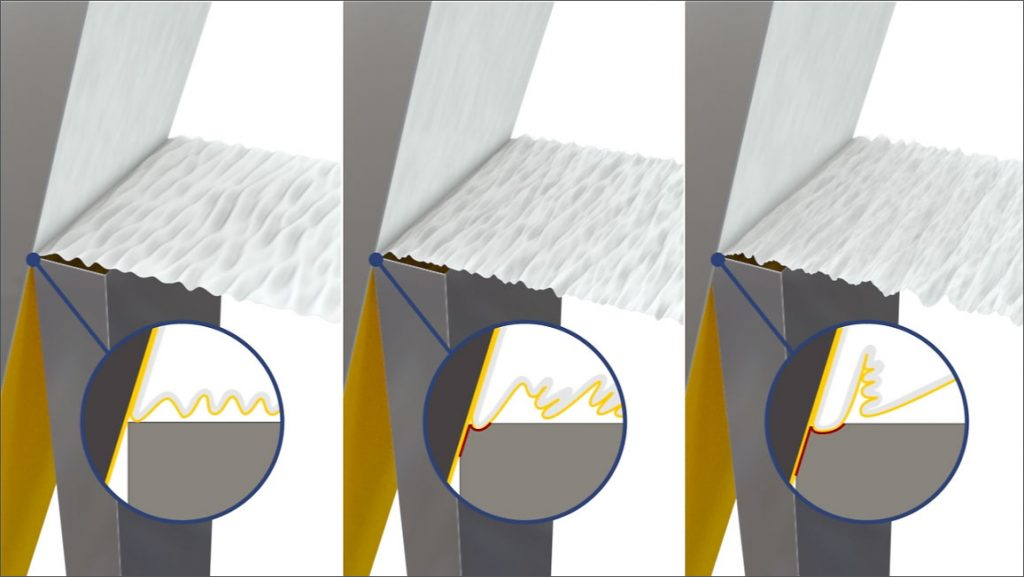 Illustration of macro area in 2D and 3D of a small blade which is not bigger than one millimeter
