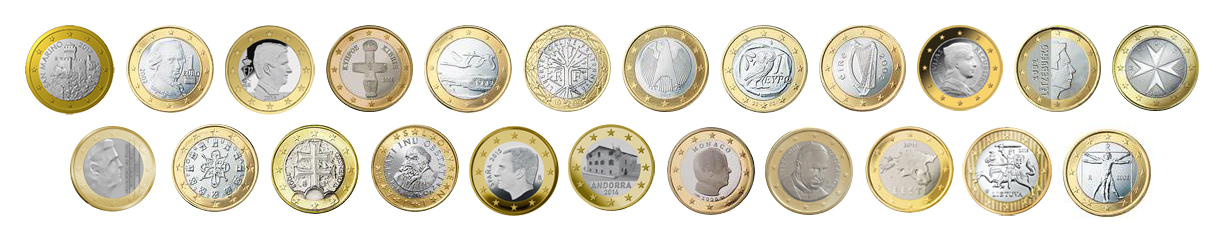 Collection of 1 Euro coins, showing the country-specific side.